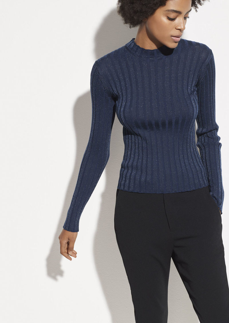 Vince Ribbed Wool Mock Neck Pullover