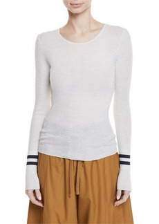 Vince Ribbed Wool Sweater w/ Striped Cuffs
