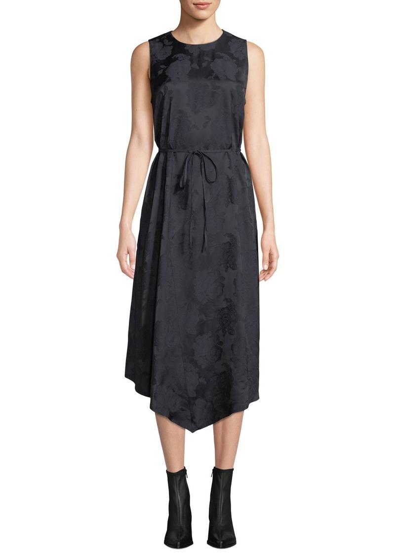 Vince Rose Jacquard Sleeveless Asymmetric Midi Dress