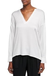 Vince Ruched-Back Split-Neck Silk Blouse