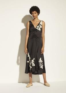 Vince Ruched Satin Floral V-Neck Dress