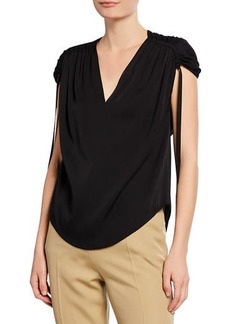 Vince Ruched-Shoulder V-Neck Blouse