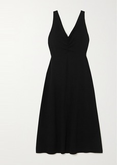 Vince Ruched Stretch-crepe Midi Dress