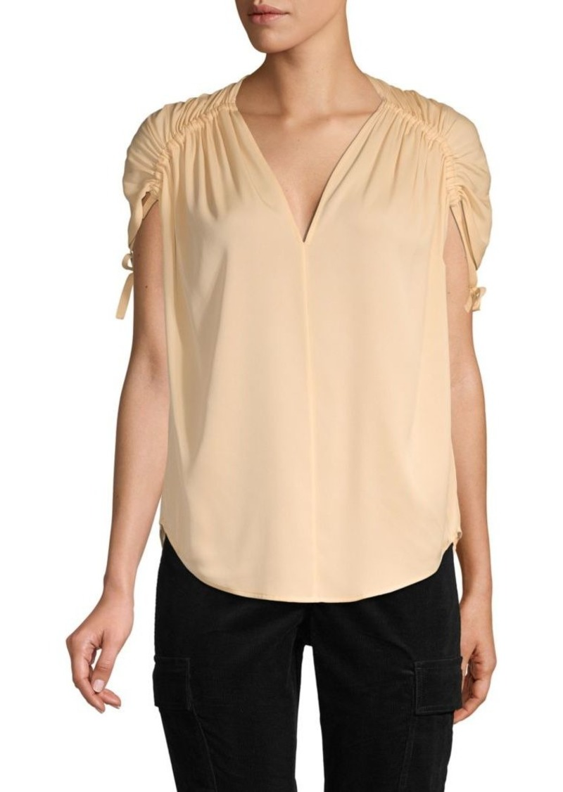 Vince Ruched Stretch Silk Top