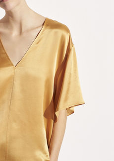 Vince Satin Double V-Neck Blouse