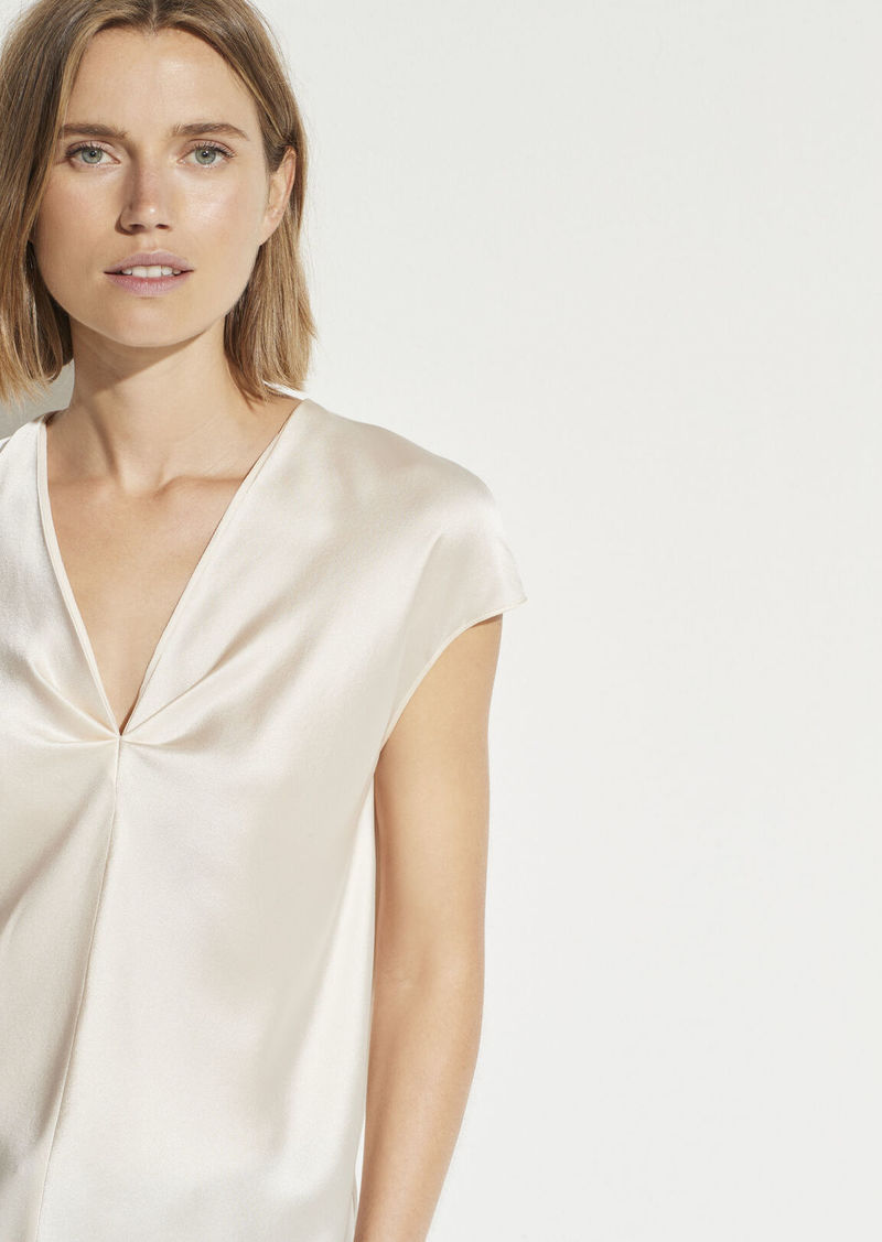 Vince Satin V-Neck Drape Blouse