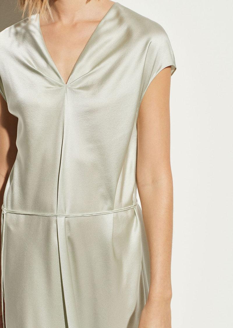 Vince Satin V-Neck Drape Dress