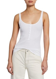 Vince Scoop-Neck Henley Tank
