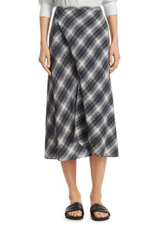 Vince Shadow Plaid Draped Silk Skirt