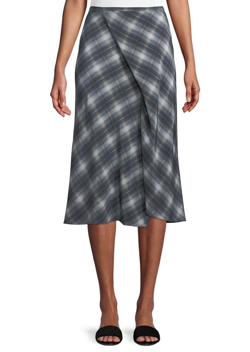 9846e4ded576f3 Vince Shadow Plaid Side-Drape A-Line Midi Skirt   Skirts