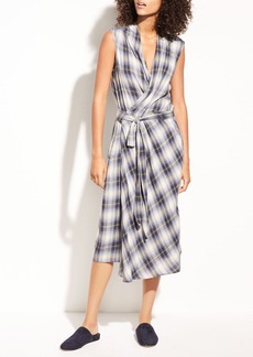 Shadow Plaid Sleeveless Cotton Wrap Dress