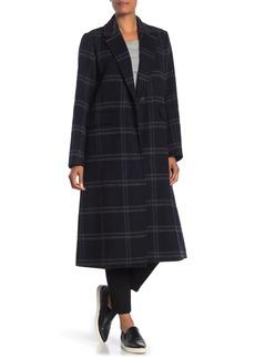Vince Shadow Plaid Wool Blend Coat