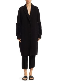 Vince Shearling Long-Sleeve Coat