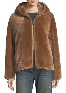 Vince Shearling Long-Sleeve Hoodie Coat