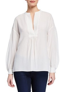 Vince Shirred Drop-Shoulder Silk Blouse