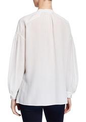 Vince Shirred Drop-Shoulder Silk Blouse