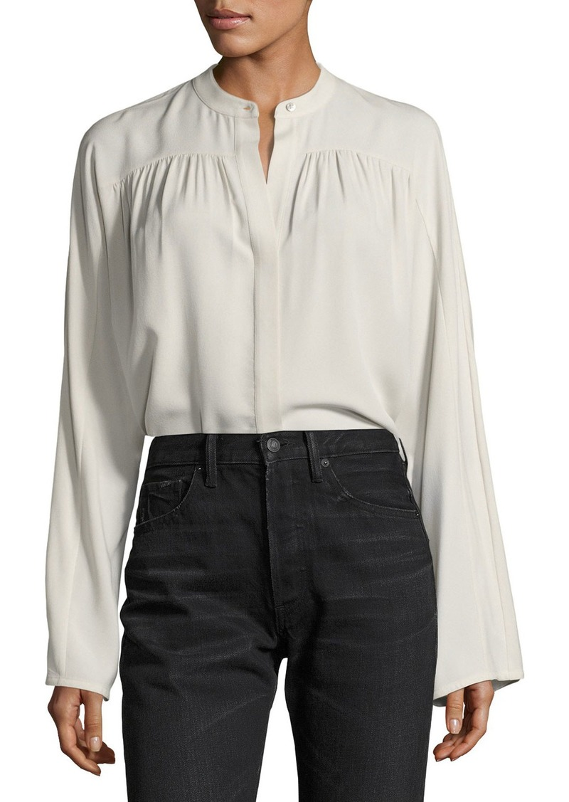 Vince Shirred Long-Sleeve Silk Blouse