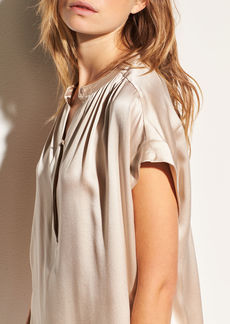 Shirred Neck Silk Pullover