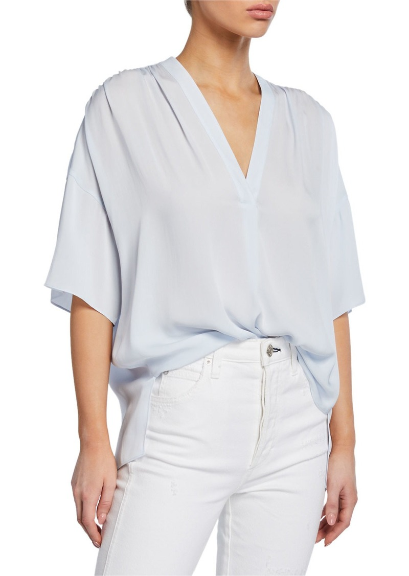 Vince Shirred V-Neck Short-Sleeve Blouse
