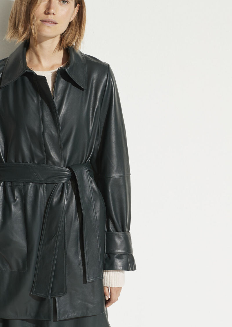 Vince Short Leather Trench