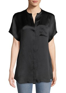 Vince Short-Sleeve Charmeuse Popover Blouse