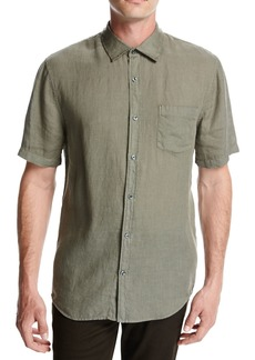 Vince Short-Sleeve Natural-Fit Linen Shirt