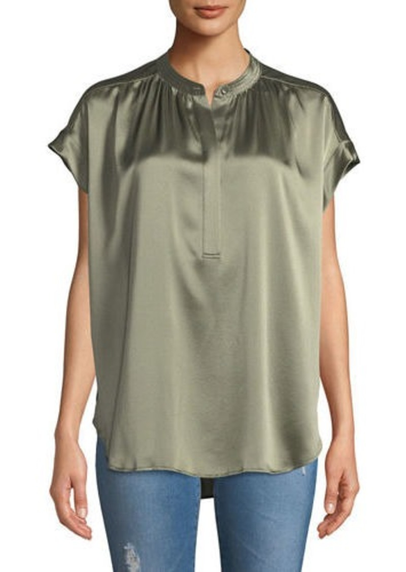 9f3f91d33c7603 Vince Short-Sleeve Shirred Satin Blouse | Casual Shirts