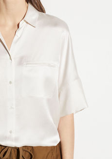Vince Short Sleeve Silk Blouse