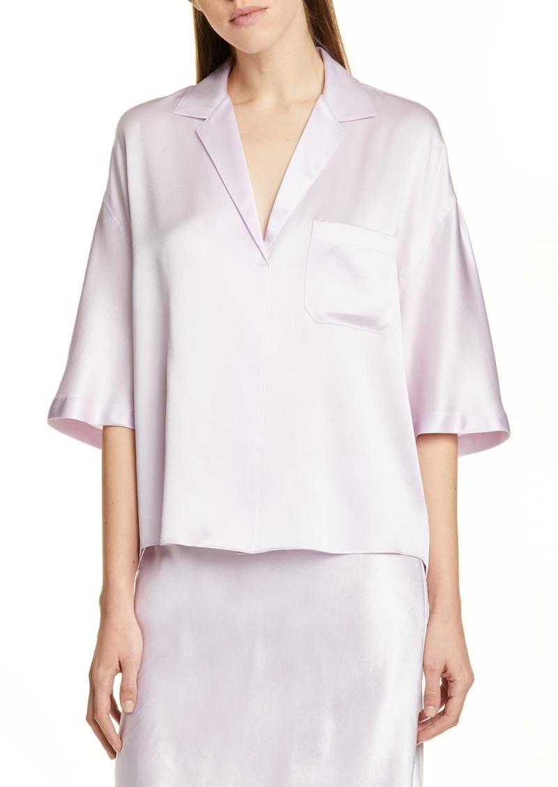Vince Short Sleeve Silk Pajama Shirt