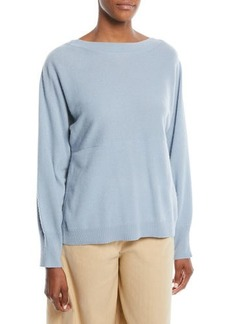 Vince Side-Slit Boat-Neck Wool/Cashmere Sweater