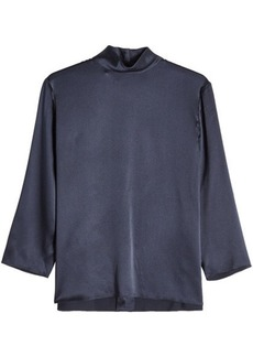 Vince Silk Blouse with High Neck