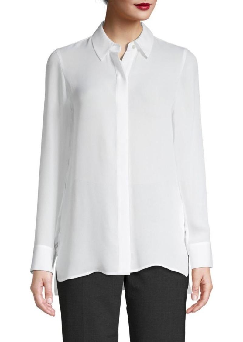 Vince Silk Button Placket Shirt