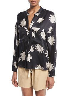 Vince Silk Chrysanthemum Floral Long-Sleeve Pocket Blouse
