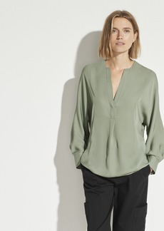 Vince Silk Half Placket Blouse