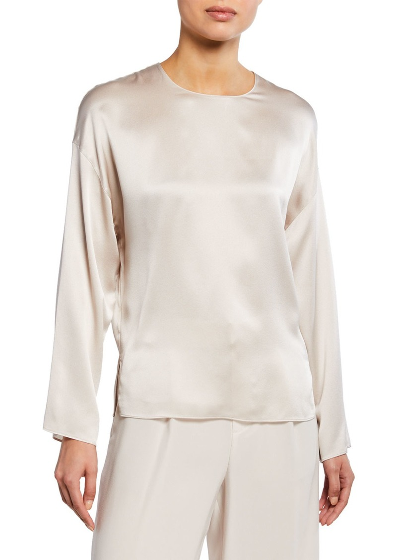Vince Silk Long-Sleeve Blouse