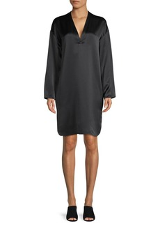 Vince Silk Long Sleeve Shift Dress