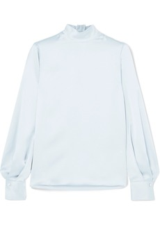Vince Silk-satin Turtleneck Blouse