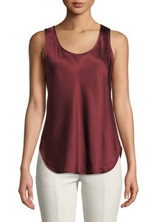 Vince Silk Scoop-Neck Bias Tank
