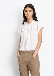 Vince Silk Shirred Neck Blouse
