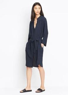 Silk Shirred Shirt Dress