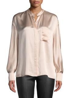 Vince Silk Single-Pocket Long-Sleeve Blouse