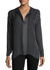 Vince Silk Stripe-Print Blouse