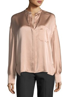 Vince Single-Pocket Button-Front Satin Blouse