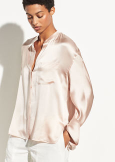 Vince Single Pocket Silk Blouse