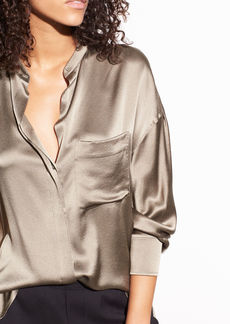 Vince Single Pocket Silk-Crepe Back Satin Blouse