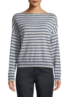 Vince Skinny-Stripe Boat-Neck Merino Wool Sweater