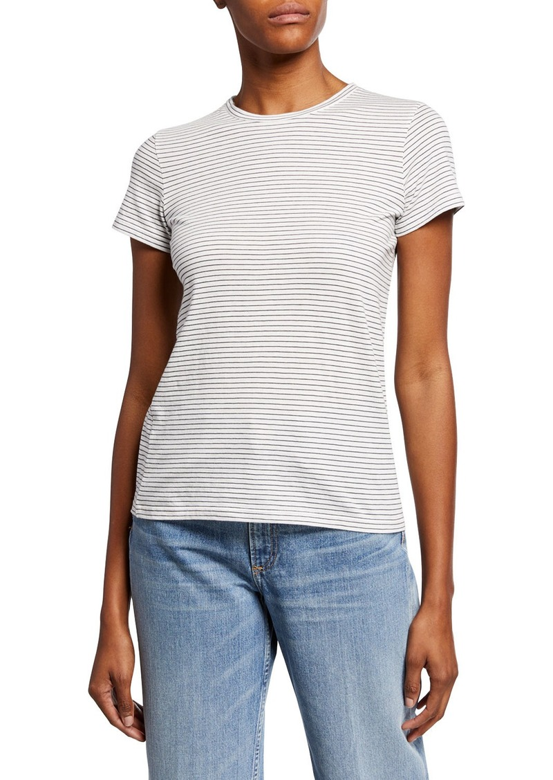 Vince Skinny Stripe Crewneck Bracelet-Sleeve Cotton Top