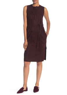 Vince Sleeveless Belted Suede Dress