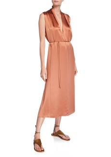 Vince Sleeveless Drape-Neck Silk Shift Dress