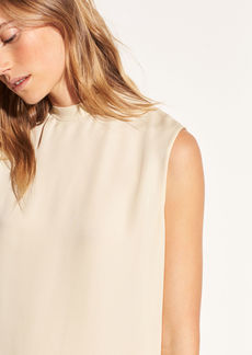 Vince Sleeveless Mock Neck Silk Blouse